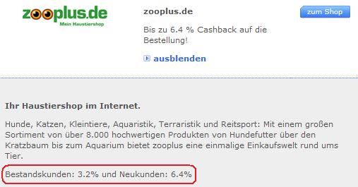 DKB Cashback-Beispiel Zooplus