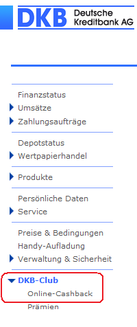 DKB Cashback - Bildschirmdruck vom DKB-Konto