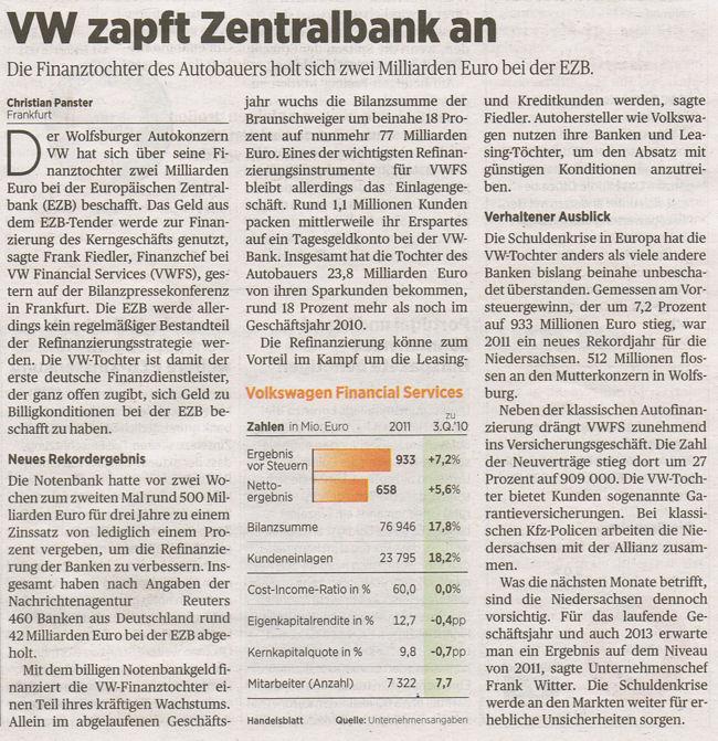 Handelsblatt-Artikel zu Volkswagen und EZB