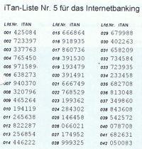 TAN-Verfahren iTAN