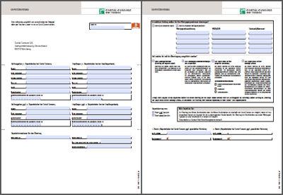 Zweiseitiges Formular für einen Depotübertrag