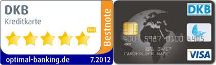 DKB Kreditkarte erhielt Auszeichnung mit Bestnote.