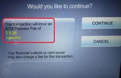 Gebührenanzeige beim Geld abheben