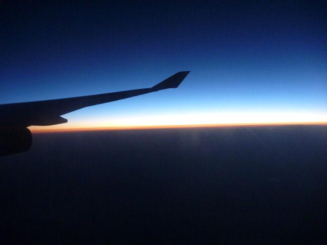 Flugzeug und die Sonne am Horizont