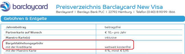Barclaycard Preisverzeichnis zu Bargeldabhebungen