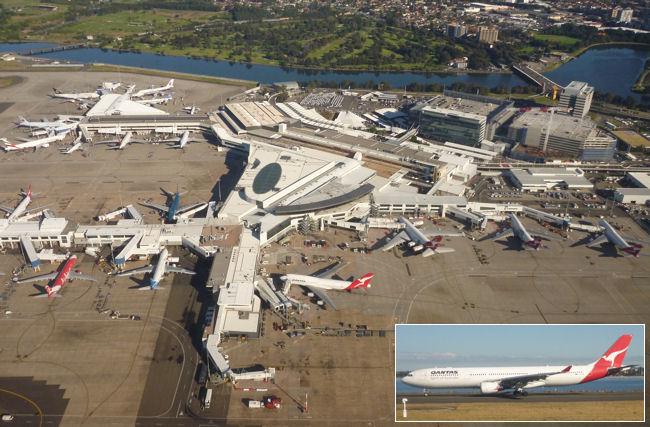 Flughafen und Flugzeuge in Sydney