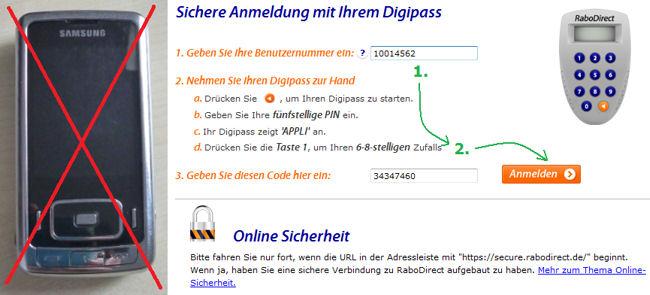 RaboDirect: Login mit Digipass