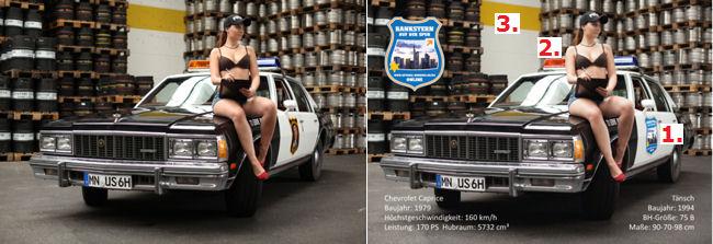 Vor- und nach der Bearbeitung: 2x Police Car