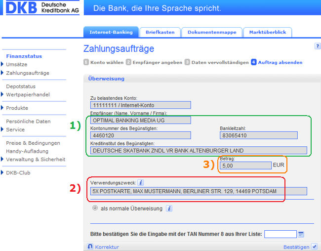 Bildschirmdruck vom Konto DKB mit Postkartenanforderung