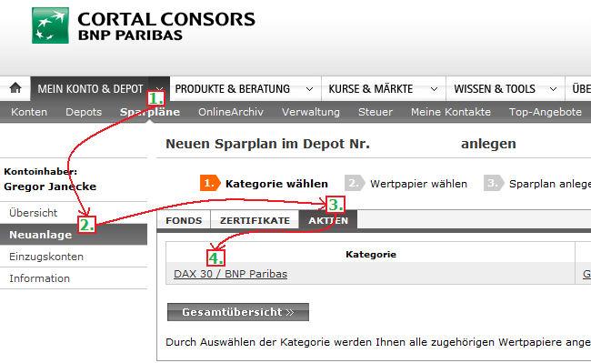 So richtet man bei Cortal-Consors einen Sparplan auf Aktien ein.