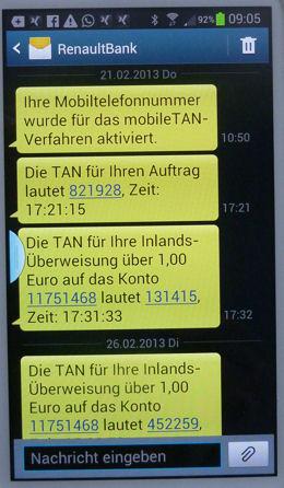 TAN per SMS von der Renault Bank