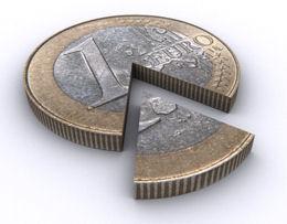 Euro-Münze, die bricht